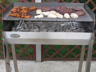 Our adjustable height stainless steel charcoal grills look like this