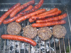 Merguez, a lamb sausage and Haggis grilled
