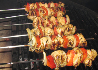 Charcoal Grilled Chicken Shish Kabobs On A Primo Grill