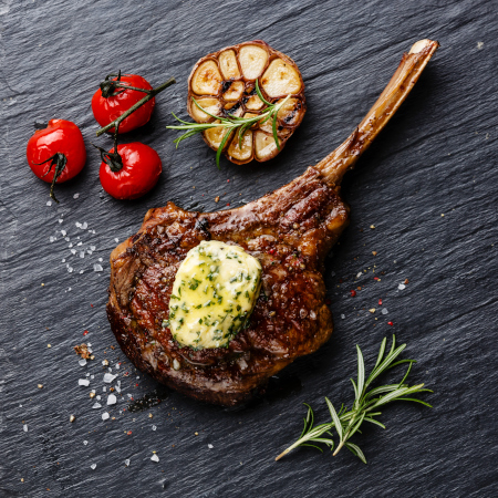 Barbecue Veal Chop With Parsley Butter Sauce