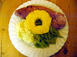 Barbecue Gammon Steak Served With Garlic Mash and Grean Beans