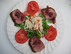 Image Damson Jam Sauce On A BBQ Duck Breast Salad