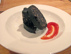 Black pudding with my homemade ketchup