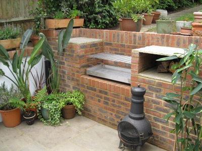 An example of a stone built barbecue grill