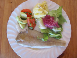 Cedar Plank Grilling Fish Served With Salad And Crushed New Potatoes