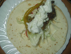 Chicken curry fajitas ready to wrap