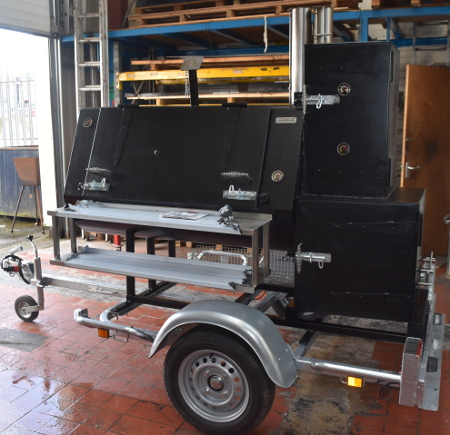 Our American style commercial trailer smoker UK hand built.