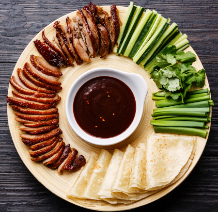 Duck Peking Style with pancakes, cucumber and hoi sin sauce
