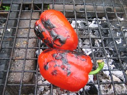 Fire Roasting Red Peppers