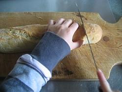 cut the baguette on the diagonal
