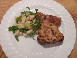 Ive served my grilled chicken thighs with a bean salad
