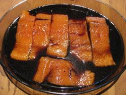 Grilled salmon marinading in teriyaki