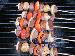 grilled steak marinade on kebabs