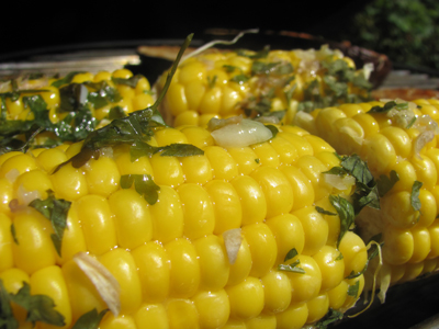Grilled Sweetcorn With Garlic Parsley Butter