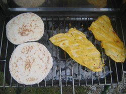 Here's the tandoori grilled turkey breast with naan bread