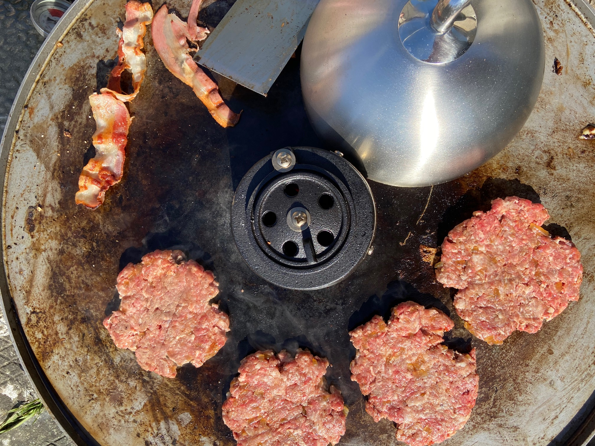 Smashed Burgers on the Monolith ICON Fire Plate