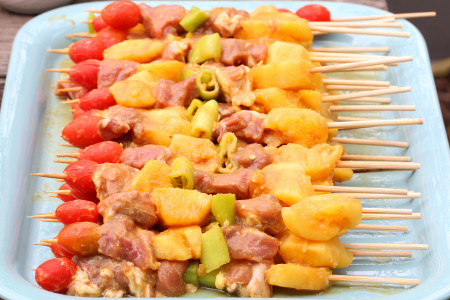 Indian barbecue chicken kebabs ready for the grill