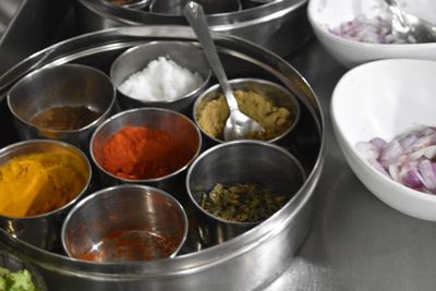 Tray of classic Indian spices