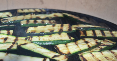 Zucchini (courgette) slices on the plancha