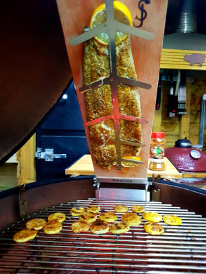 Kamado Cooking With A Fish Plank