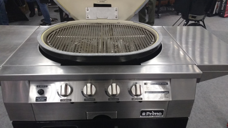 The Primo Kamado G420 with all stainless steel head, 4 burners and central ash tray
