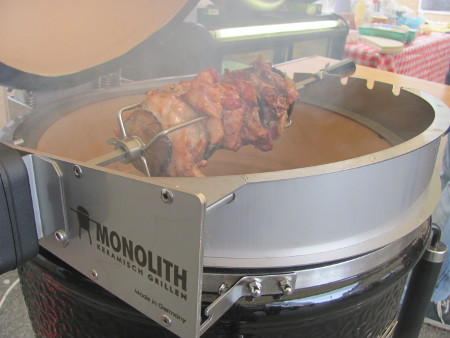 Chicken and mushroom layers on the Monolith rotisserie