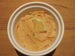 Here's the smoked salmon mousse ready for serving