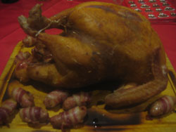 Christmas smoked turkey recipe with pigs in blankets