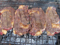 Dave's steak rub recipe in action