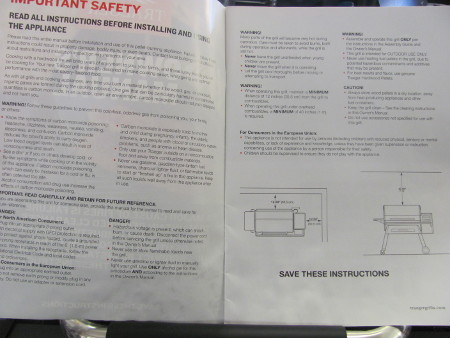 Traeger instruction manual full of warnings and danger