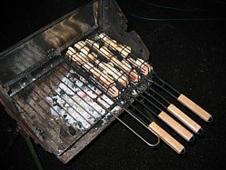 barbecue grilled salmon in a fish basket