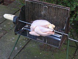 Barbecue Spit Roasted Barbecue Chicken