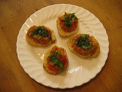 Red peppers and aubergine appetisers
