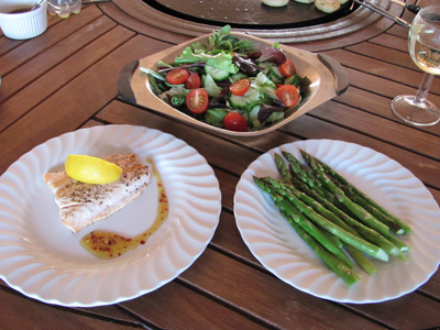 Grilled Fish, Asparagus and Salad