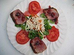 Image Damson Jam Sauce On A BBQ Duck Breast Salad