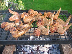 Barbecue Chicken Wings over direct heat