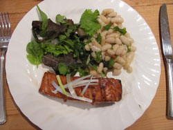 Teriyaki grilled salmon with cannellini bean salad