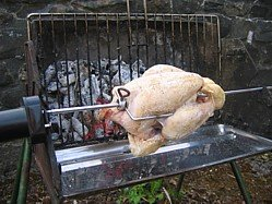 cooking barbecue chicken