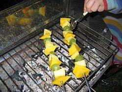 Image Fruit Kebabs Grilling