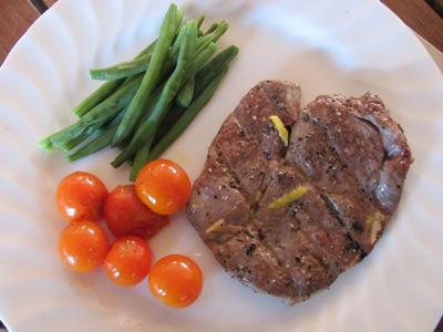 A simple grilled lamb leg steak