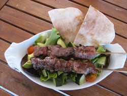 Grilled pork souvlaki