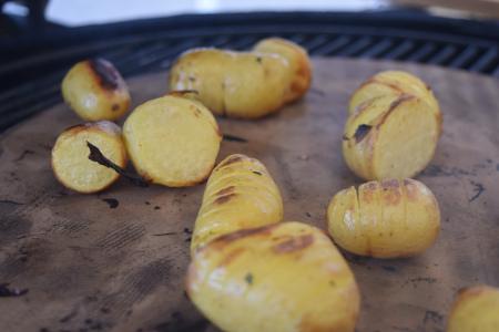 Baby Hasselback potato sliders
