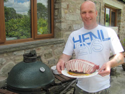 Doesn't Jay look happy with his smoked venison roast. Who's carving?