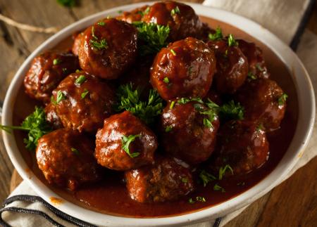 Oven prepared meatballs in barbecue sauce