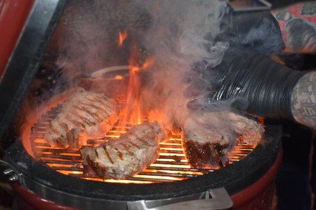 Monolith Junior kamado cooking pork chops