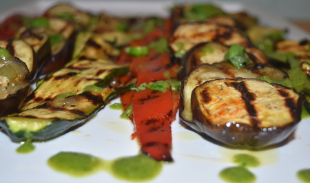 Plancha grilled vegetables with pesto dressing