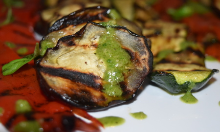 Veggies grilled on the plancha and drizzled with pesto