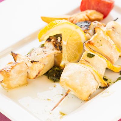 BBQ grilled swordfish kebab