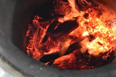 Inside a tandoor oven