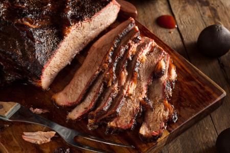 Texas smoked brisket sliced across the grain